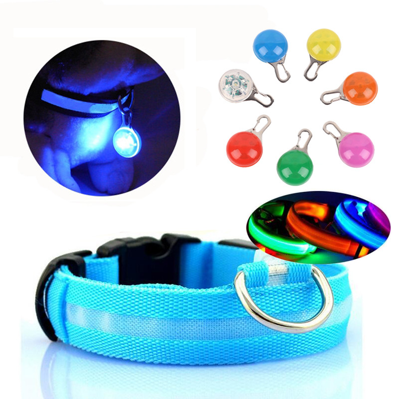 Nylon LED Cat Dog Collar Necklace Dog Luminous Fluorescent Collars For Night Safety Flashing Glow In The Dark To Protect Pet in Collars from Home Garden