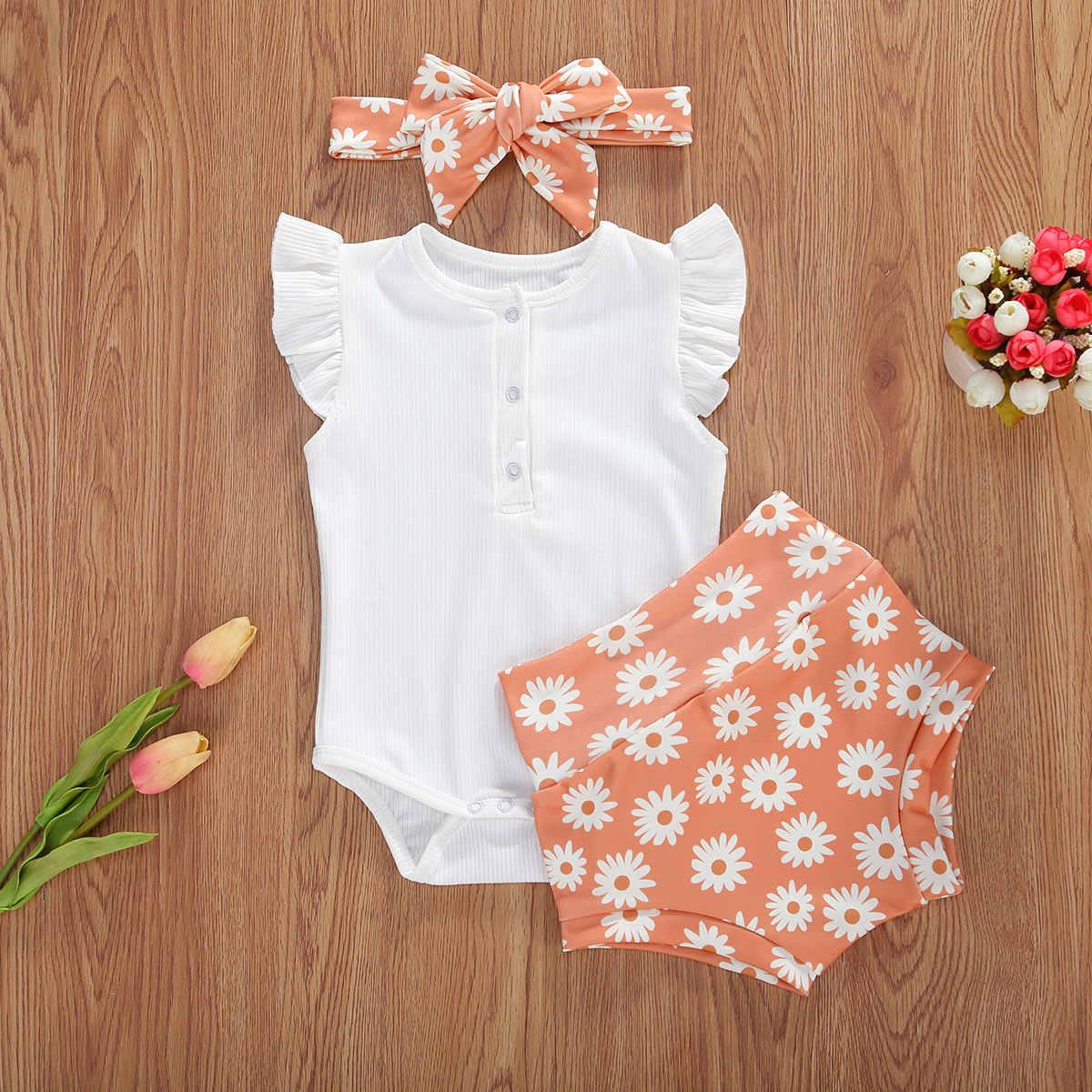 2020 bebek yaz giyim bebek bebek kız çiçek elbise seti Ruffles kısa kollu Romper Tops + gökkuşağı papatya şort + kafa bandı