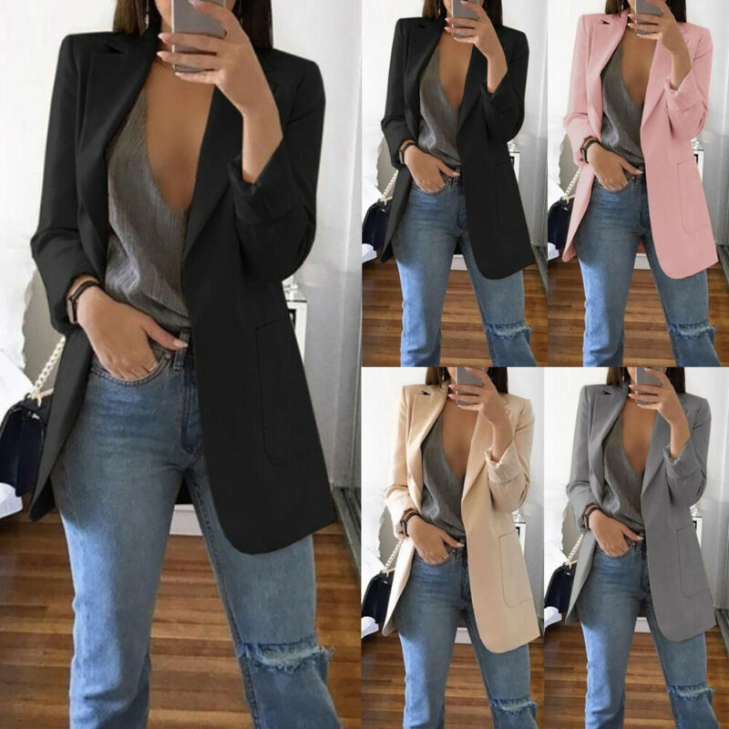Fashion Women Slim Casual Blazer Top Outwear Long Sleeve Career Formal OL Blazers Tunic Outcoat