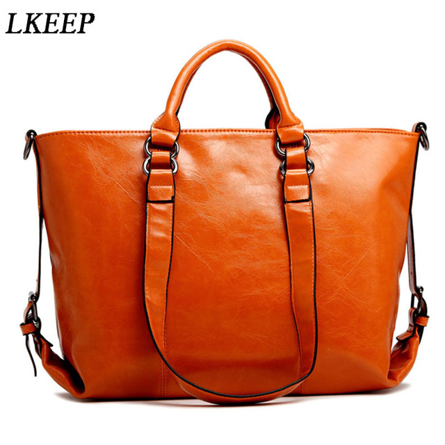 New Women Handbag Europe And America Oil Wax Leather Shoulder Bag Solid Casual Tote Fashion Brand Leather Women Bag