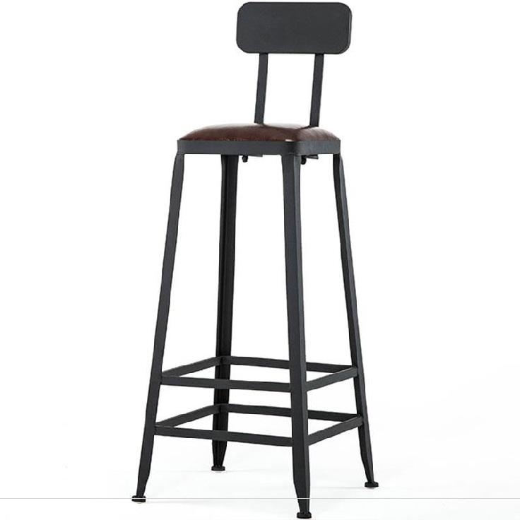 Bar High Chair Bar Stool High Wrought Iron Home Back Bar Stool Dining Chairs Modern Minimalist High Commercial Tea Shop Chair