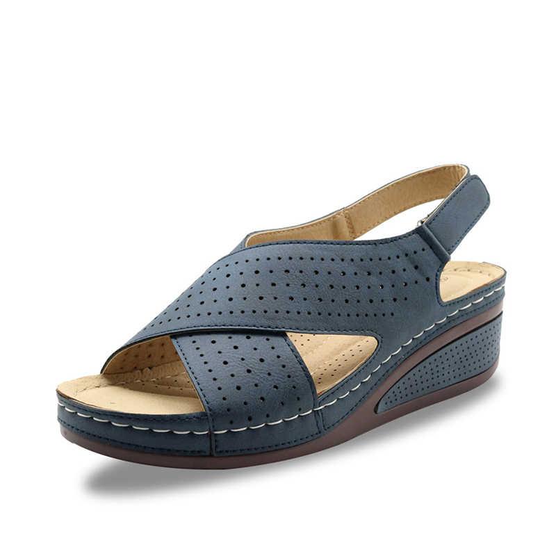 2020 yaz kadın sandalet dikiş kadın rahat kama ayakkabı kadın konfor bayanlar toka burnu açık kanca döngü kadın plaj ayakkabı