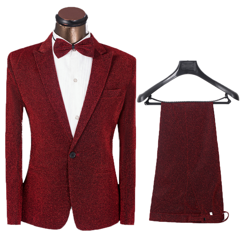 Two Pieces Set Suits Men's Singers Perform Stage Show Shiny Costume Homme One Button Jacket Pants Wedding Suits Tuxedo