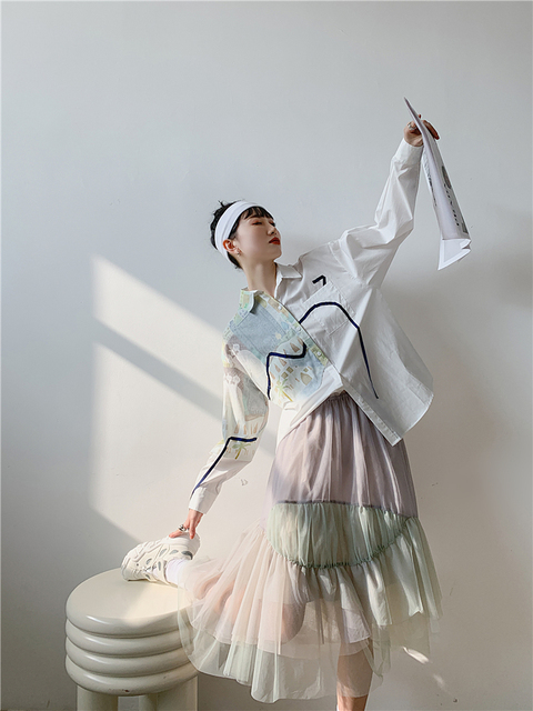 CHEERART Autumn Aesthetic Shirt Long Sleeve Top Women Blouse Cotton Print Button Up Collar Designer Shirt Fashion 2020 2
