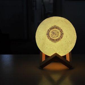 Image 3 - 15x15 ซม.Quran ลำโพงไร้สายบลูทูธรีโมทคอนโทรล LED Nigt โคมไฟดวงจันทร์ Quran ลำโพง 10 เมตรระยะทางที่มีประสิทธิภาพ USB ชาร์จ
