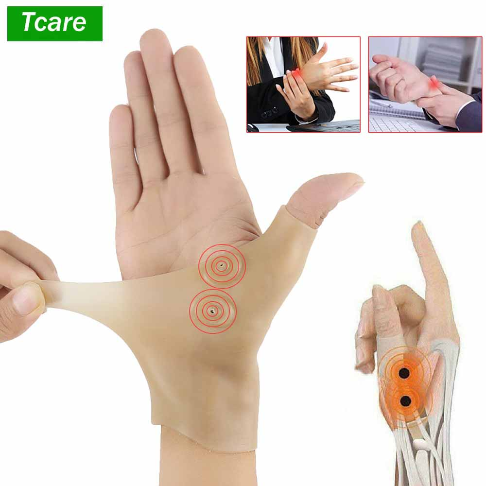 Tcare 1Pcs Magnetic Therapy Wrist Hand Thumb Support Gloves Silicone Gel Arthritis Pressure Corrector Massage Pain Relief Gloves