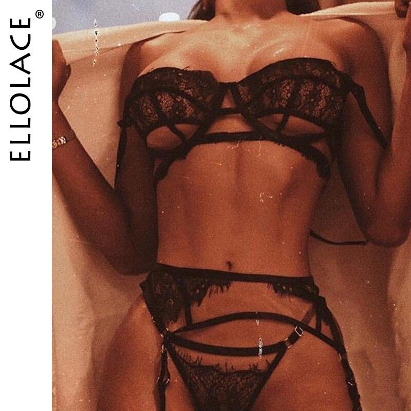 Ellolace 2020 Lingerie Set Sexy Underwear Set Women Transparent Women's Underwear Hollow Out Femlae Black Lace Bra Set Wholesale