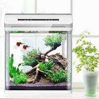 Mini Smart Aquarium Betta Fish Aquarium Creative Fish Tank Home OfficeTea Table Decoration Glass Bring Lucky&fortune Feeding Box