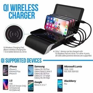 Image 4 - Draadloze Oplader Voor Iphone Samsung Usb Poorten Fast Charging Station Dock Voor Multi Apparaten Draagbare Smart Phone Standhouder