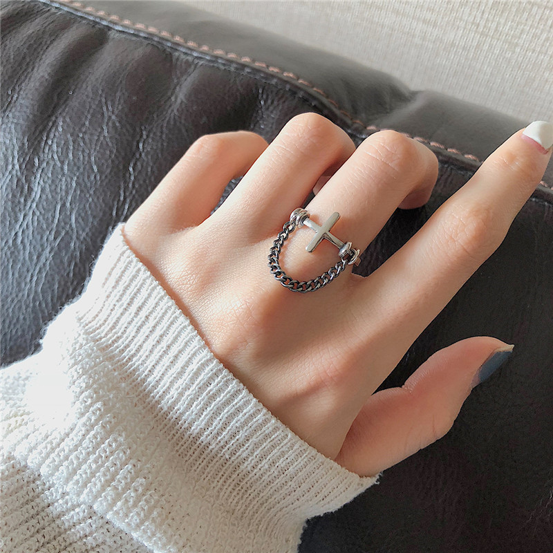 Personality Cross Chain Vintage Adjustable Ring Real 925 Sterling Silver Fine Jewelry For Women Party Accessories Gift