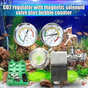 Meigar 220V do 240V Co2 sprzęt Regulator magnetyczny Solenoid dwa Gauge licznik babelków do akwarium tanie i dobre opinie