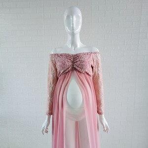 Image 4 - Кружевное платье для беременных Le Couple, длинное платье розового цвета с длинным рукавом для беременных