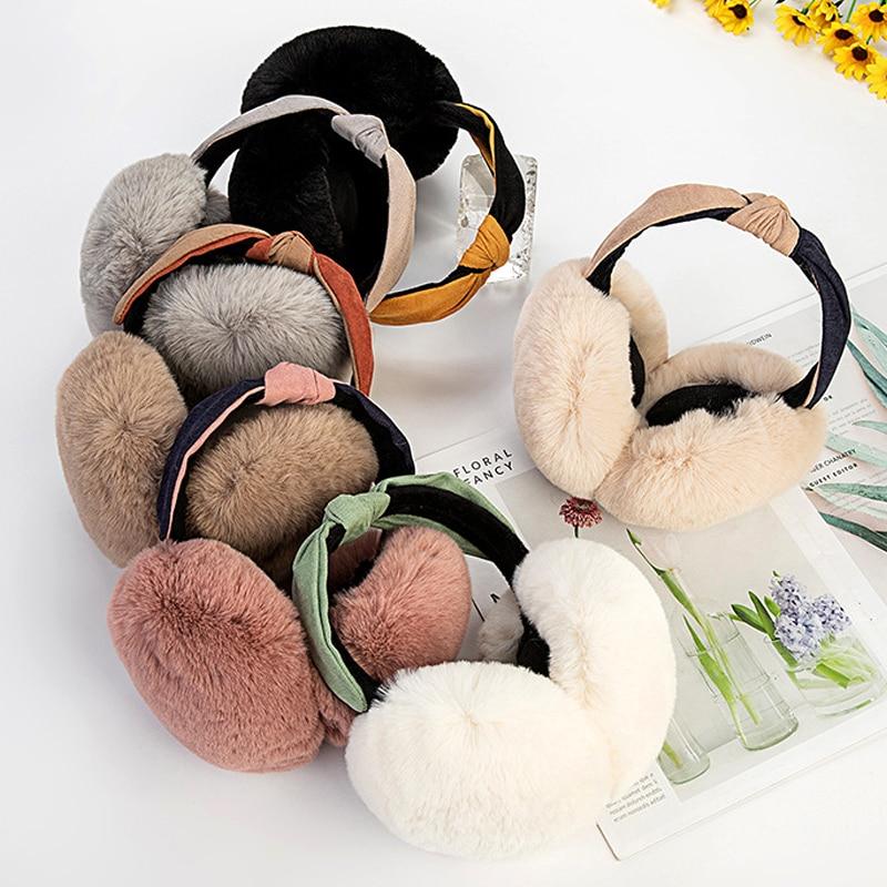 Double Color Headband Earmuffs Folding Ear Warm Faux Rabbit Fur Earmuffs Cute Cat Ear Earflap Plush Ear Cover For Girls