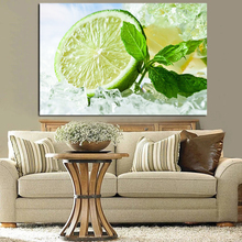 Fresh Lime And Ice Cubes Canvas Poster Nordic Decorative Picture Painting Modern Wall Art
