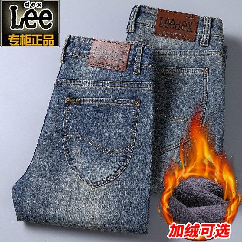 Lee Dex Winter Jeans Men's Plus Velvet Autumn Loose Straight Slim Fit Elasticity Business Casual Pants Thick