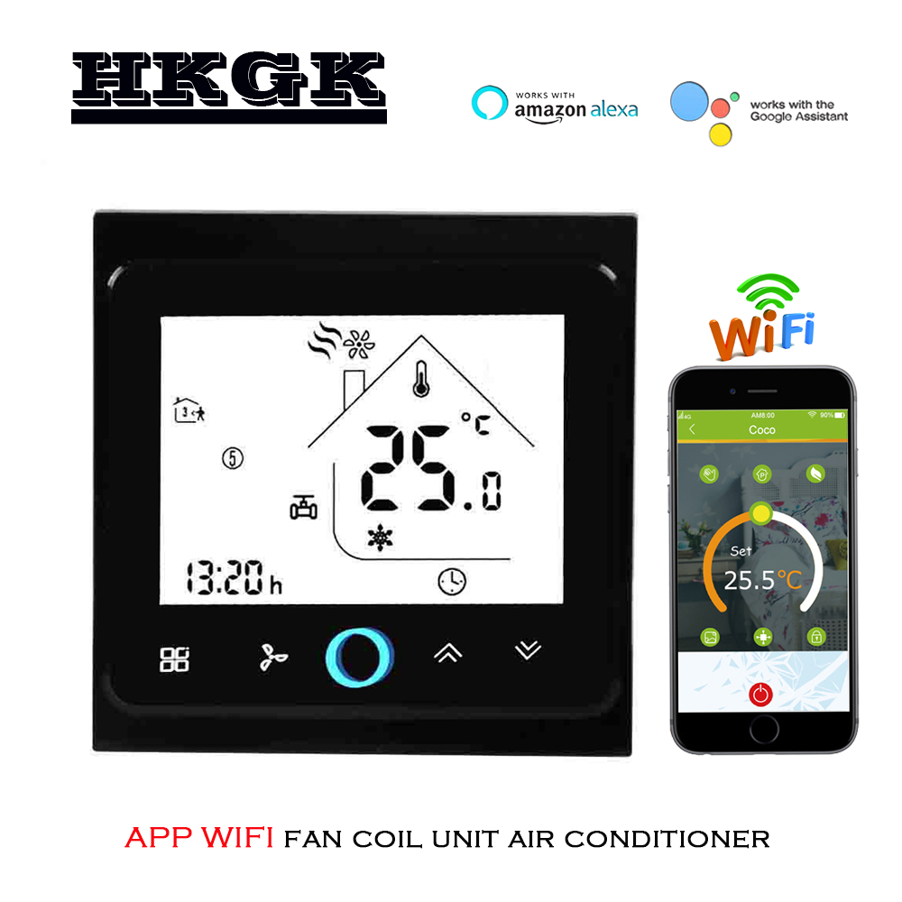 TUYA 2pipe Wifi Thermostat Switch For 3 Speed Fan Coil Units 95-240VAC 24v
