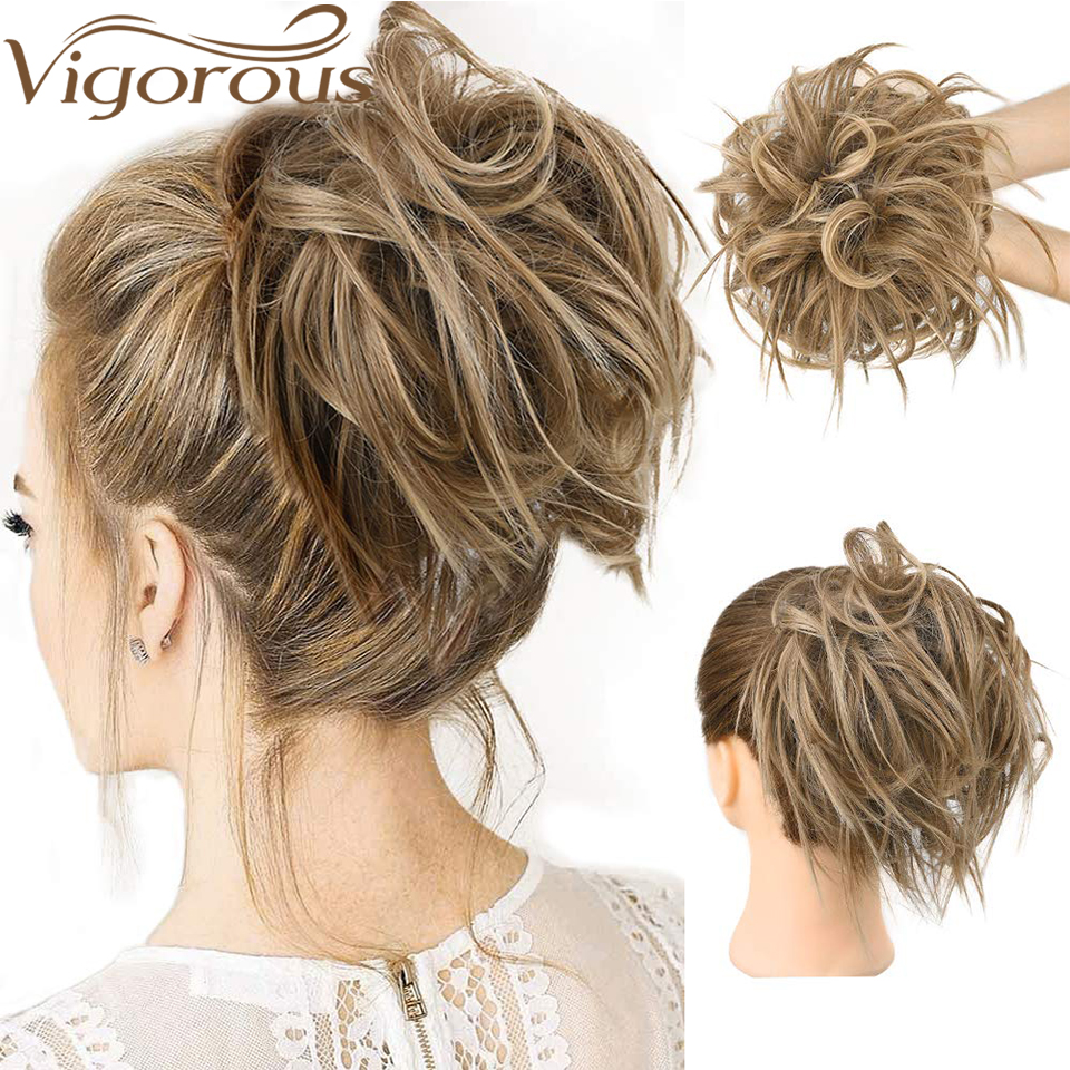 Vigorous 7 Inch Messy Bun Tousled Hairpiece Elastic Band Chignon Hair Curly Scrunchie Updo Cover Synthetic Hairpiece For Women