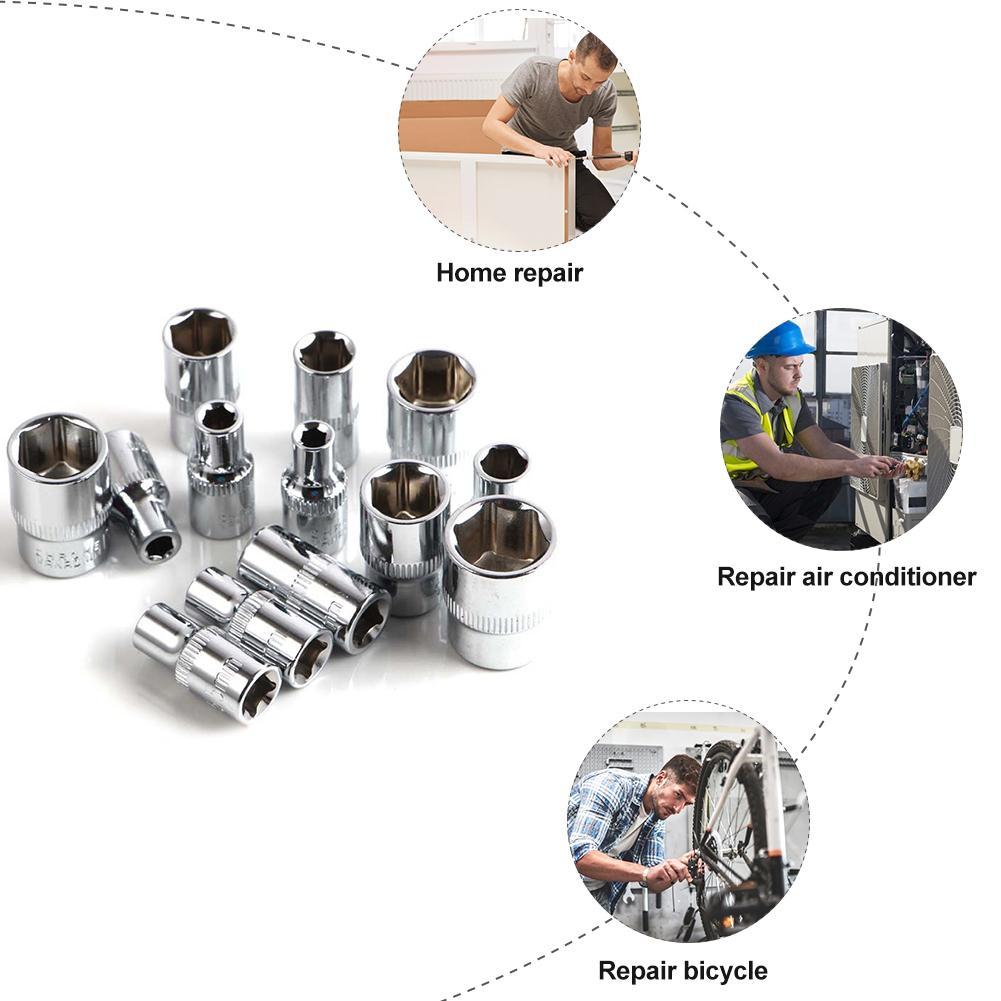 46 шт./компл. хром-ванадиевая сталь Сталь ключ для ремонта Комбинации комплект торцевой гаечный ключ с шестигранной головкой в плоской головкой H3/H4/H5/H6/H7/H8