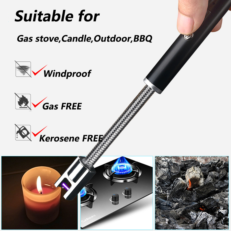 Creative Bendable Arc Lighter For Outdoor BBQ Windproof Flameless Electronic LighterUSB Charging Cigarette Lighter Plasma