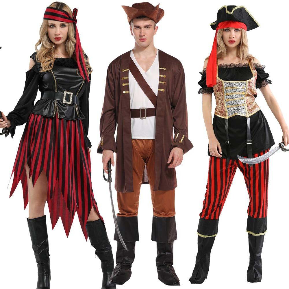 Free Shipping Haliday Halloween Cosplay Costume Pirates Captain Caribbean Jack Sparrow Pirate Fantasia Women Men Fancy Carnival