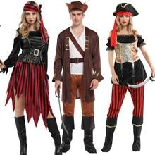 Spedizione gratuita Haliday Halloween Cosplay Costume pirati capitano caraibi Jack Sparrow Pirate fantasia donna uomo Fancy Carnival