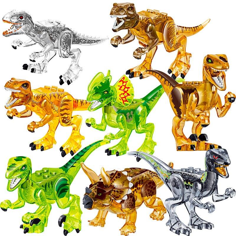 8PCS Assemble Building Blocks Crystal Dinosaur World Pterosaurs Triceratops Model Bricks Figures Toys For Children Birthday Gift