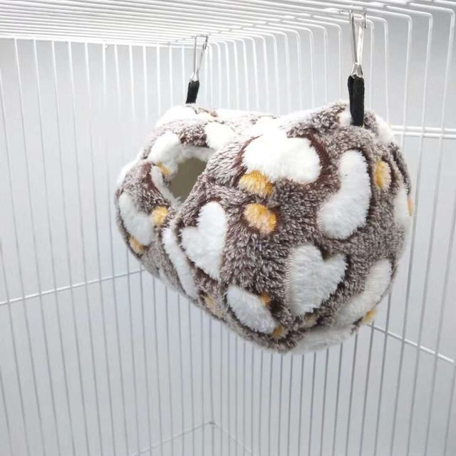 Parrot Nest Bed Winter Plush Warm Hanging Cave Cage Hammock House for Hamster 2