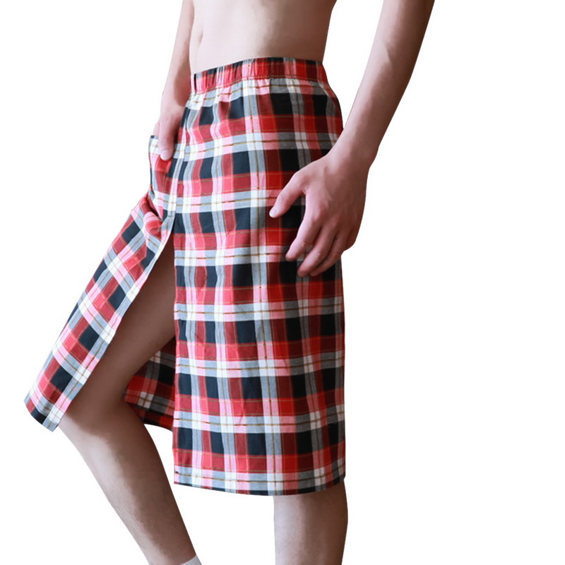 OEAK Men's Light Weight Cotton Soft Pajama/Lounge Sleep Skirt Casual home bath skirt breathable sweat-absorbent nightdress