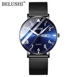 BELUSHI mężczyźni zegarki ultra-cienka wodoodporna siatka stalowa kwarcowy zegarek mężczyźni biznes zegar data kalendarz Wrist Watch Relogio Masculino