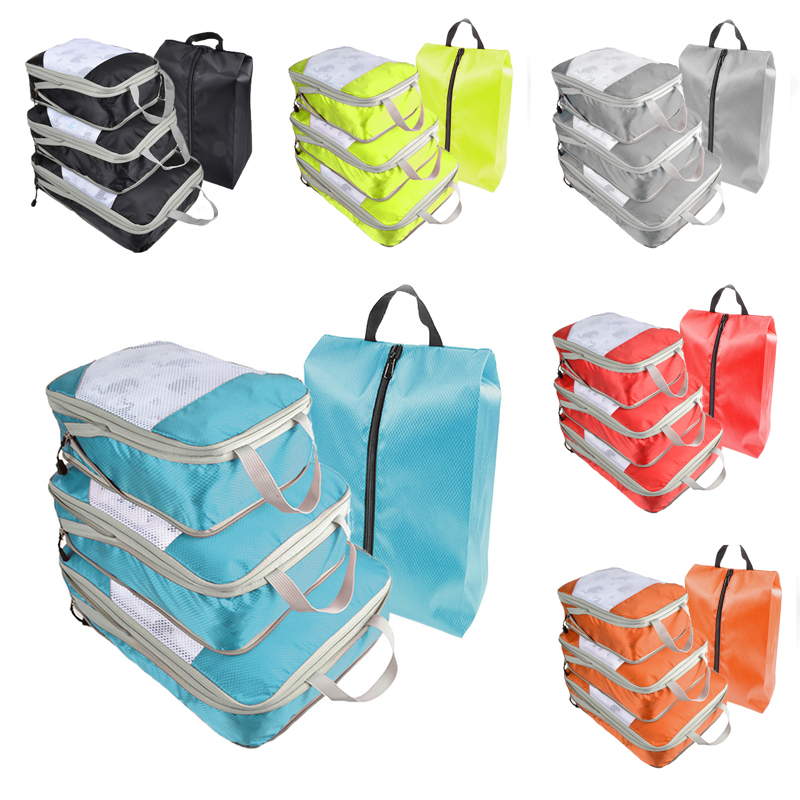 New 4Pcs Waterproof Portable Clothes Storage Bag Set Folding Closet Organizer Pillow Quilt Blanket Bag Organizer For Travel