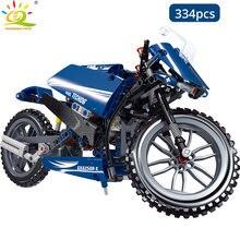 HUIQIBAO offroad bisikleti yapı taşları teknik hız şampiyonu plaj motosiklet araba araç geri çekin tuğla oyuncaklar çocuk