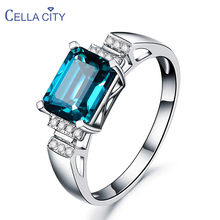 Cellacity Trendy Resizable Silver 925 Jewelry Gemstones Ring for Women Elegant Rectangle Indicolite Accessory for Engagement(China)