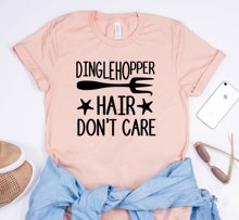 Dinglehopper Hair Dont Care Shirt Little Mermaid Ariel T-shirt Women Shirts With Sayings Funny Quote Tee shirt(China)
