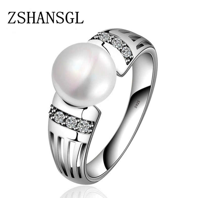 New Collection 925 Sterling Silver Rings Big CZ & FreshWater Pearl Rings for Women Wedding Valentine's Day Jewelry Gift