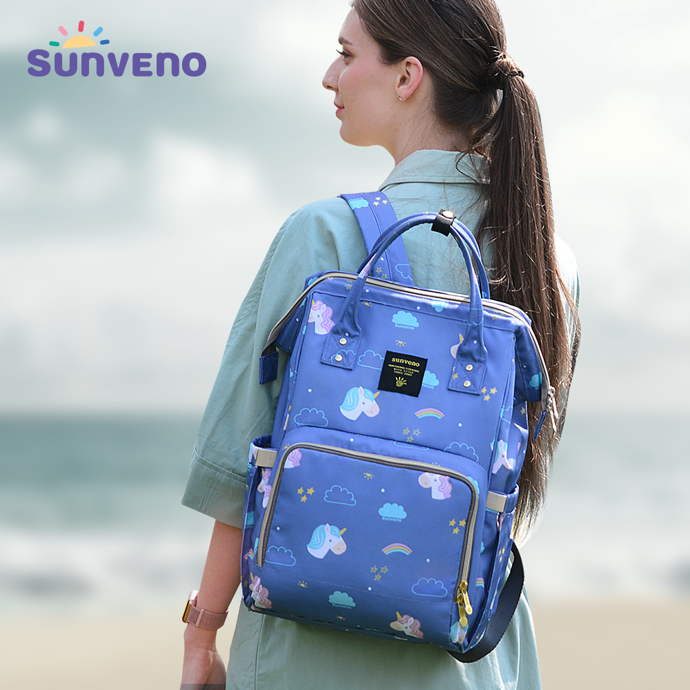 Sunveno Diaper Bag Quality Large Capacity Baby Nappy Bag Travel Backpack Stroller Organizer Baby Care Bag for Mom Activity Gear