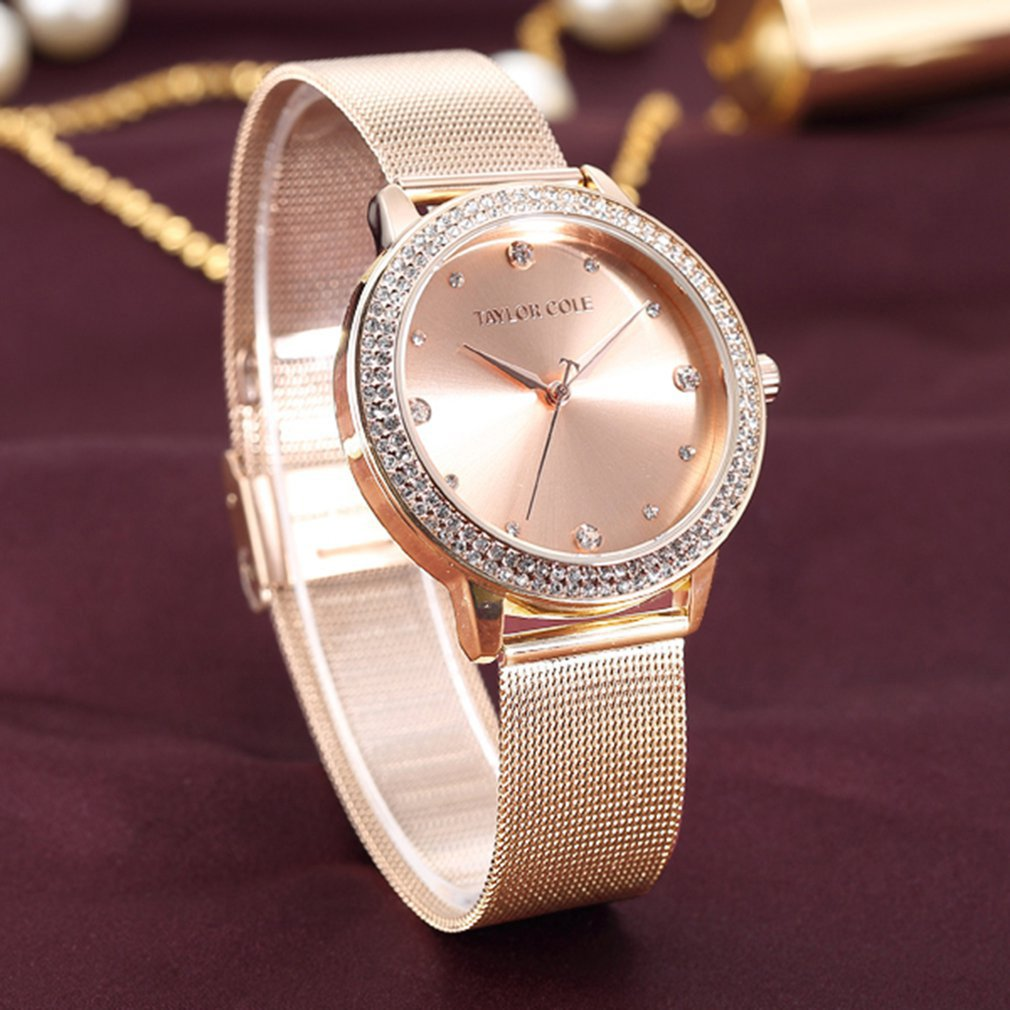 Taylor Cole Gold Dress Wrist Watch Clock Women Fashion Brand Casual Quartz Watch Crystal Watches Relogio Feminino Clearance