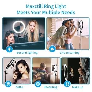 Image 5 - 10 Inchs Photography LED Light Tripod Ring Lamp Stand Set Outube Video Live 3300 5500k Photo Studio Selfie Stick Ring Light