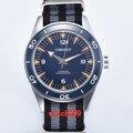 Corgeut 41 мм синий циферблат керамический ободок сапфировое стекло miyota автоматические мужские повседневные часы нейлоновый ремешок водонепро...