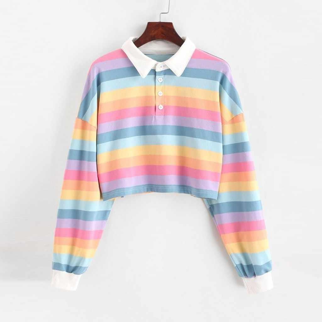 Womail Kaus Wanita Musim Dingin Ringan Warna Garis Mahasiswa Kerah Sweatshirt Santai Nyaman Pendek Sweatshirt Pullover