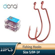Crank Fishing-Hooks Offset DONQL Worm-Lure Carbon-Steel Wide -Carp for Soft 5/0 --1 10pcs/Box