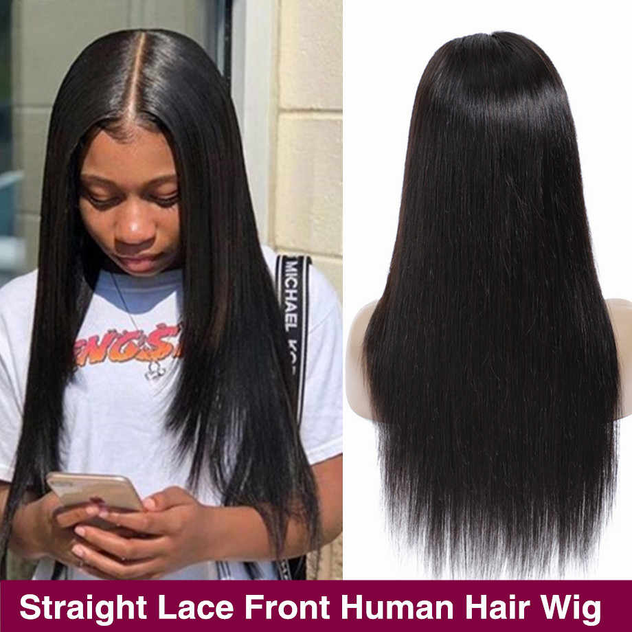 13x4 Lace Front Human Hair Wigs Pre-Plucked Bob Wigs Peruvian Straight 360 Lace Frontal Wig For Black Women Remy 150% Density