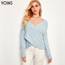 YOINS 2019 Autumn Winter Spring Sweater Women V Neck Crossed Front Long Sleeve Knitted Jumpers Vintage Pull Femme Pullover S-XL
