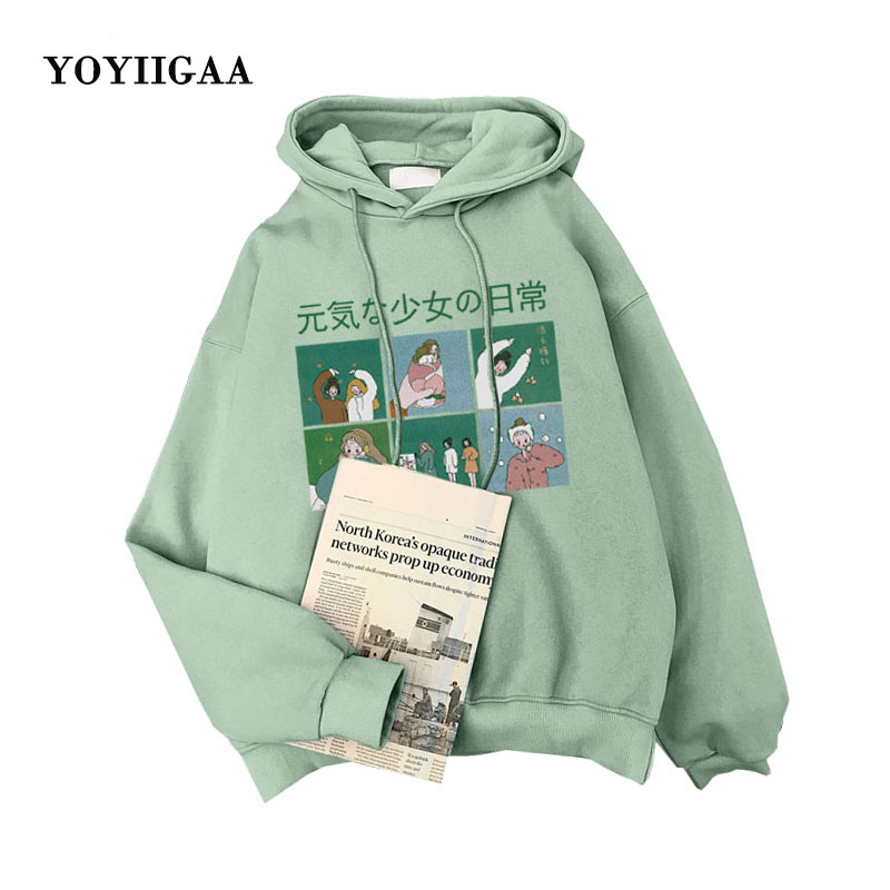 Thick Hoodies Women Hooded Sweatshirts Women's Hoodies Harajuku Printed Female Hoodie Long Sleeve Women Pullovers Lady Tops