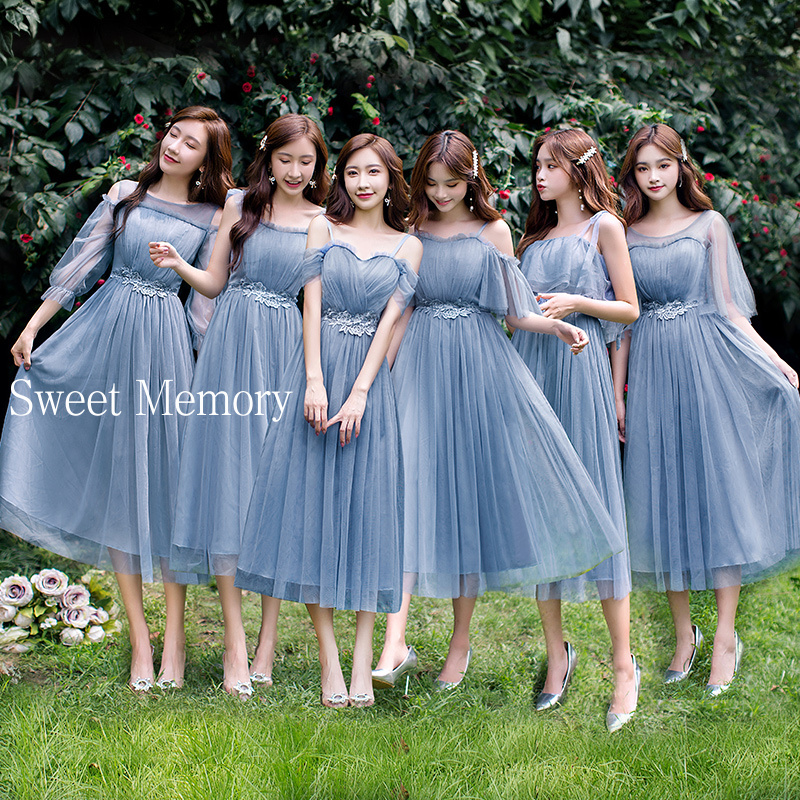 U21O39 Sweet Memory Women Plus Size Blue Grey Pink Champagne Bridesmaid Dresses Party Graduation Robes Vestidos