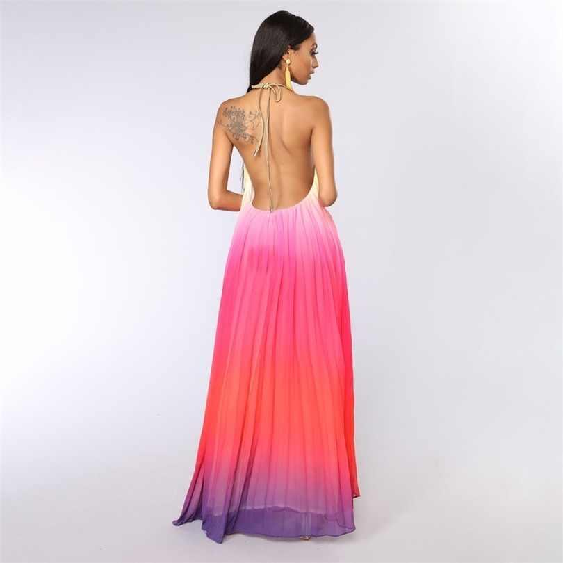 Stile africano Etnico Spiaggia Gradiente di Stampa Tie-Dye Maxi Vestito Delle Donne Allentato Halter casual Grande Swing Abito Femminile Lungo PleatedDress