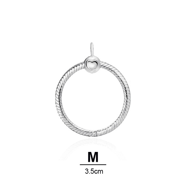s925 Sterling silver color O circle Pendant fit Original Pandora moments Necklace DIY Charm Jewelry