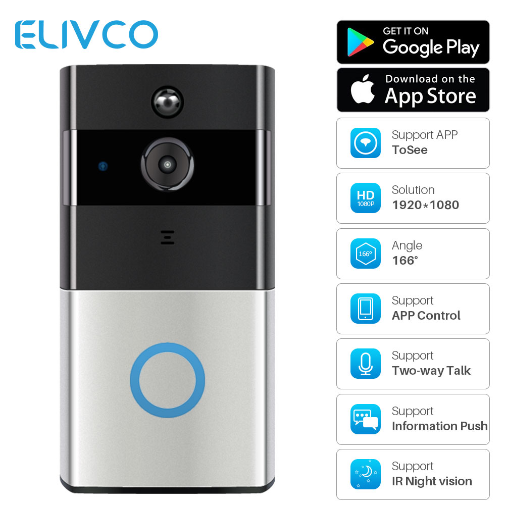 1080P Smart Video Doorbell Intercom WiFi Video Door Bell Camera Infrared Night Vision Home Security Monitor Remote Recording