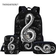 School-Bags Backpack-Set Twoheartsgirl Girls Boys Kids Music Dragon Print Student Note-Black/white