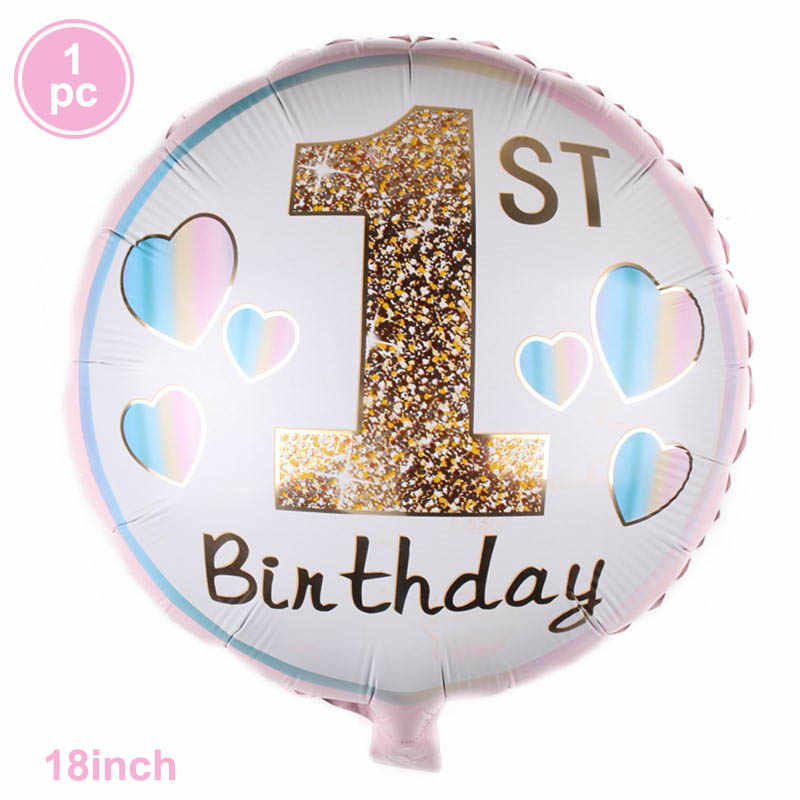 Pierwsze pierwsze materiały urodzinowe niebieskie różowe jednorazowe obrusy talerze papierowe serwetki zestaw kubków roczne dekoracje urodzinowe