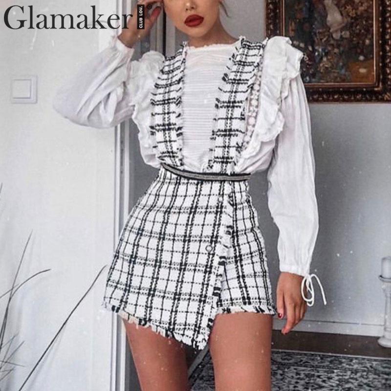 Glamaker Plaid High Waist Skirt Tweed Skort Culottes Sexy Buttons Club Short Skirt Female Fringe A-line Mini Skirt Women Bottoms
